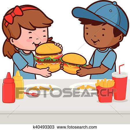 Vector Art - Group of happy kids eating delicious food on the dining table.  Clipart Drawing gg109801401 - GoGraph