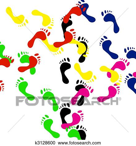 colour prints of feet vector clipart k3128600 fotosearch fotosearch