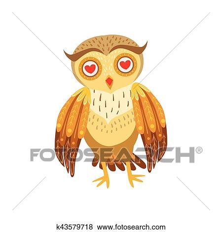 Dessin Amoureux Mignon clipart - hibou, amoureux, mignon, dessin animé, caractère, emoji, à