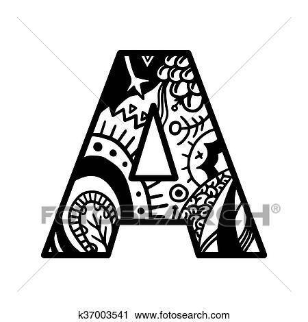 Clipart Libro Colorante Pagina Lettera Alfabeto Uno Vector