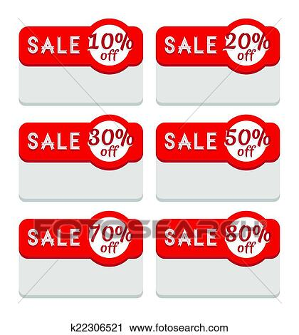 clipart of sale tag template various discount percentage k22306521