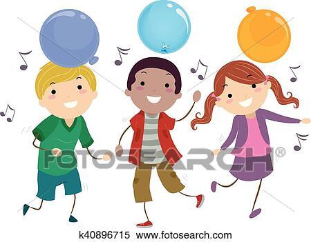 Stickman Kids Games Balloon Dance Clipart K40896715 Fotosearch