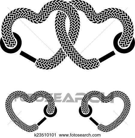 Vector Cordón Ligado Corazones Negro Blanco Símbolos Clipart