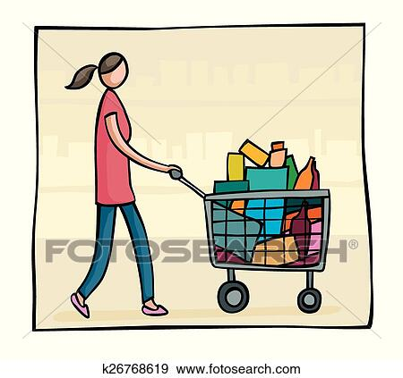 clip art of woman pushing a shopping trolley k26768619 search rh fotosearch com clipart trolley car supermarket trolley clipart