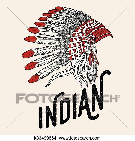 Americano Nativo Chefe Indio Headdress Vetorial Illustration