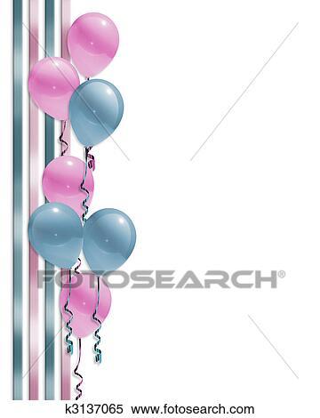 Stock Illustration Of Balloons Border Baby Shower K3137065 Search