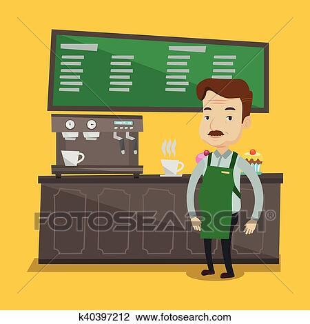 Barista standing near coffee machine. Clipart | k40397212 ...