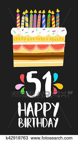 Buon Compleanno Scheda 51 Cinquanta Uno Anno Torta Clipart