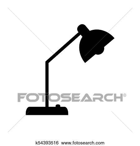 Clip Art Of Desk Table Lamp Icon K54393516 Search Clipart