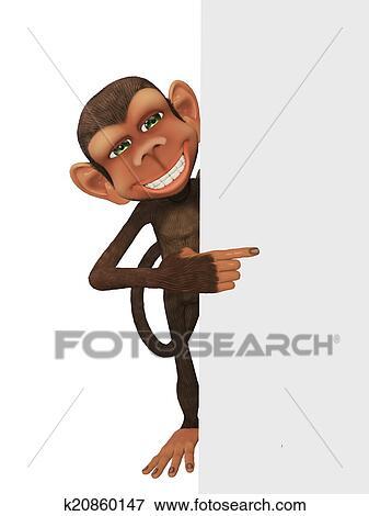 Divertente 3d cartone animato scimmia con uno blan isolato