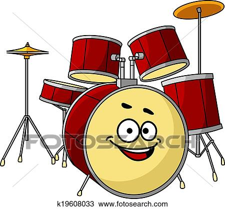 Clipart of Drum set having a big happy laughing smile k19608033 ...