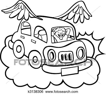 Clip Art Of Flying Car K3138306
