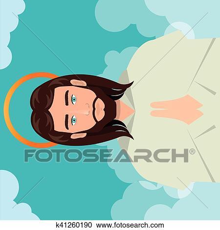 Jesus Cristo Oracao Ascensao Desenho Clipart K41260190