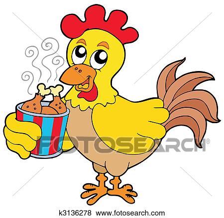 Clipart dessin anim poulet repas bo te k3136278 - Dessin de poulet ...