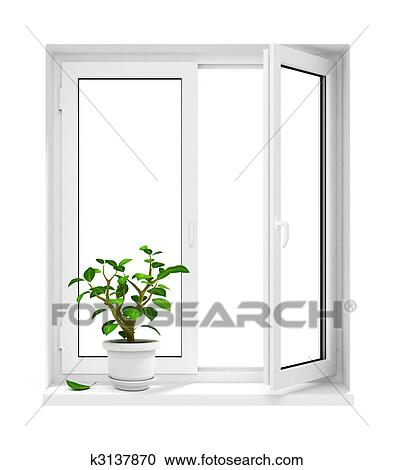 stock illustrationen offenes plastik fenster mit blumentopf auf fensterbank k3137870. Black Bedroom Furniture Sets. Home Design Ideas