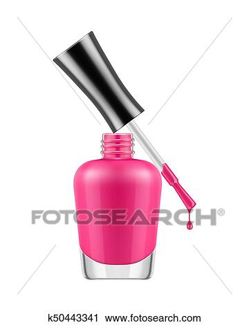 Realistic Nail Polish Bottle Pink With Brush And A Drop Of Varnish Product Makeup Care Template Illustration