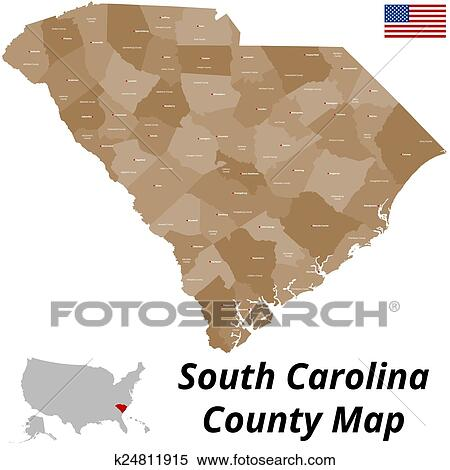 Clipart of South Carolina County Map k24811915 - Search Clip Art ...