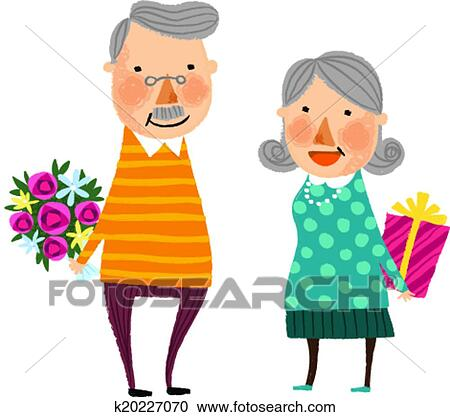 clipart of the view of old couple k20227070 search clip art rh fotosearch com old couple clipart free happy old couple clipart
