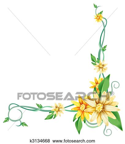 Stock illustration of yellow daisy flower and vines k3134668 illustration drawing of yellow flowers and vines in white background mightylinksfo