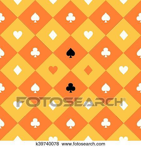 Card Suits Yellow Orange Gold White Chess Board Diamond Background Clip Art