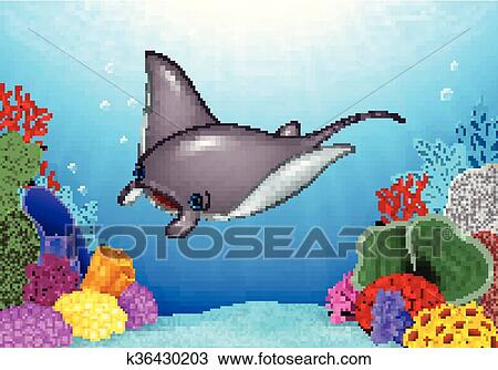 clipart of cartoon stingray with coral reef k36430203 search clip