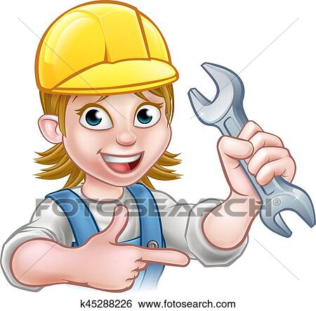 A plumber or mechanic handyman cartoon character holding a spanner and  pointing 9c351749a84e