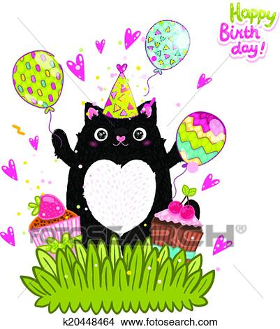 Clipart Of Happy Birthday Card Background With A Cat K20448464