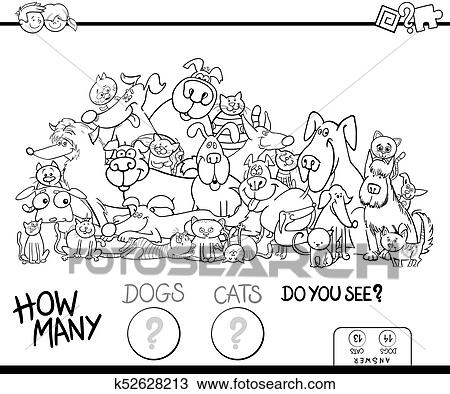 How Many Cats And Dogs Game Color Book Clipart K52628213 Fotosearch