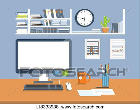 Clip Art of Interior office room.Flat design style k18333938 ...