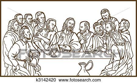 letztes abendmahl, von, jesus christus, dass, retter, und, seine, discplles clipart | k3142420