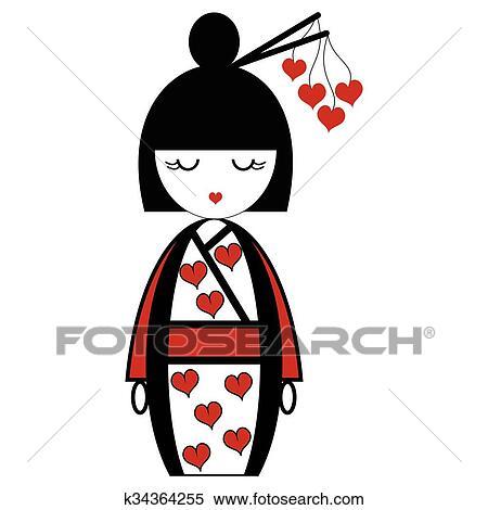 Popolare Orientale, giapponese, geisha, bambola, con Clipart | k34364255 DZ53
