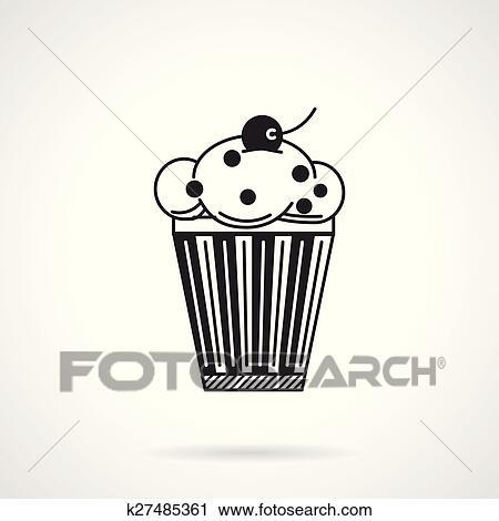 Clipart , petit gâteau, à, raisins secs, noir, vecteur, icône