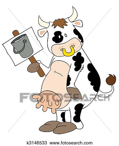 Rigolote vache laiti re placard clipart k3146533 - Photo vache rigolote ...