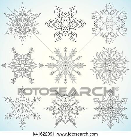 Set of snowflakes. Contoured mandalas. Snowflakes for adult coloring book  or art therapy Clipart