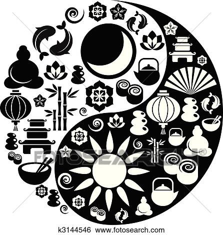 Clip Art Of Yin Yang Symbol Made From Zen Icons K3144546 Search