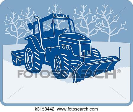 Charrue Neige Tracteur Labourer Scene Hiver Dessin K3158442
