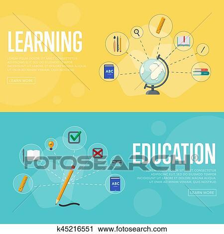 Education Infographics Concept Banners Clip Art K45216551 Fotosearch