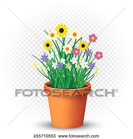 Clipart Flores Grows En Maceta En Transparente K55710553