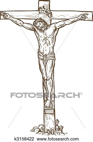 Jesus Christ Hanging On The Cross Drawing K3158422 Fotosearch