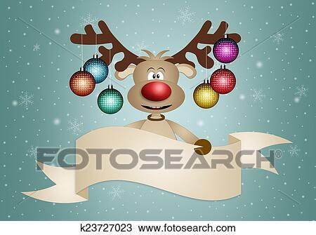 Bilder Weihnachten Lustig.Lustig Rentier Mit Weihnachten Kugeln Zeichnung