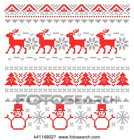 Clip Art Of Merry Christmas Traditional Scandinavian Knitting Pixel