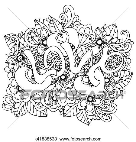 Vector illustration zentangl, the word Love in flowers. Doodle drawing.  Coloring book anti stress for adults. Meditative exercises. Black white. ...