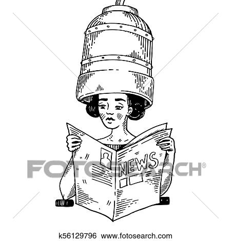 Woman With Hair Dryer Engraving Vector Clip Art K56129796 Fotosearch