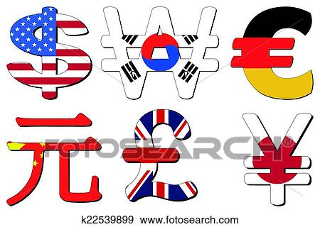 American Dollar Korean Won German Euros Chinese Yuan British Pounds And Anese Yen Flag Symbols Vector Ilration