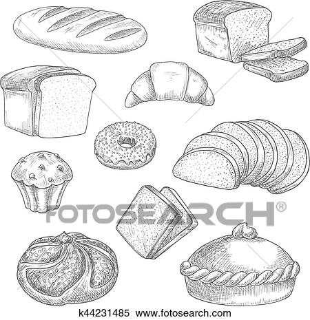 Clipart Boulangerie Pain Patisserie Croquis Isolé Vecteur