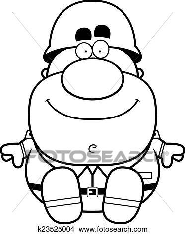 Clipart Of Cartoon Soldier Sitting K23525004
