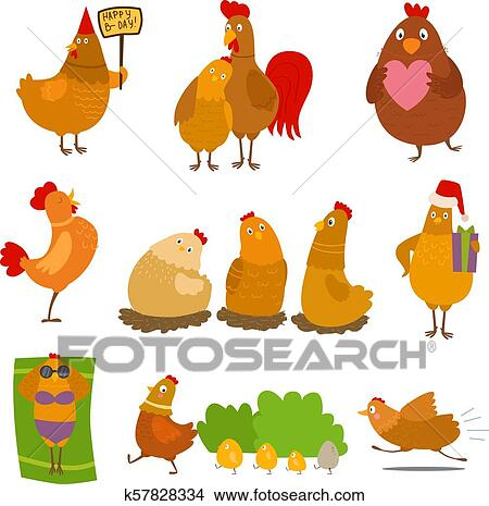 4bcc764c654e3 Chicken vector cartoon chick character on happy birthday party or Christmas  hen in Santa head with xmas gift for baby and rooster in love illustration  ...