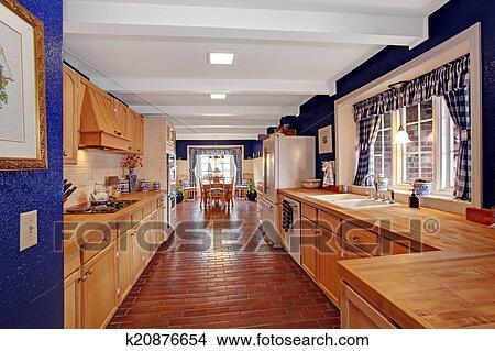 Contraste, couleurs, cuisine, salle, à, plancher brique Image