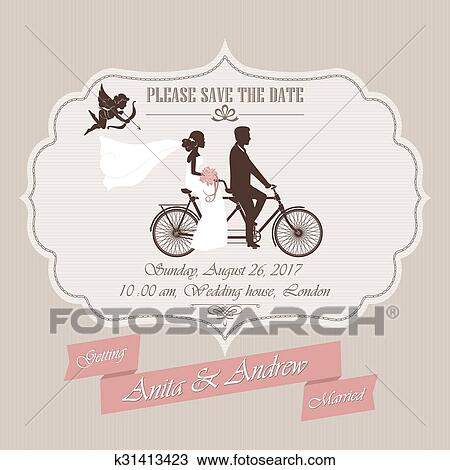 Clipart Hochzeitskarten Tandem Fahrrad K31413423 Suche Clip Art