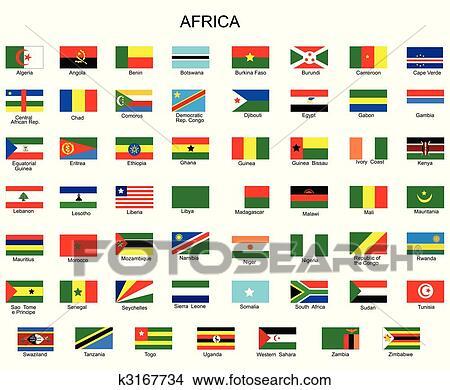 Utklipp - liste, av, all, flagg, av, afrika, land k3167734 - Søk utklipp ...